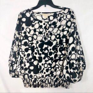 Michael Kors Women's Black And White Blouse XL
